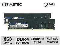 Timetec Hynix IC DDR4 2400MHz PC4-19200バッファなし非ECC 1.2V CL17 1Rx8シングルランク288ピンUDIMMデスクトップPCコンピュータメモリRAMモジュールアップグレード(8GBキット(2x4GB))