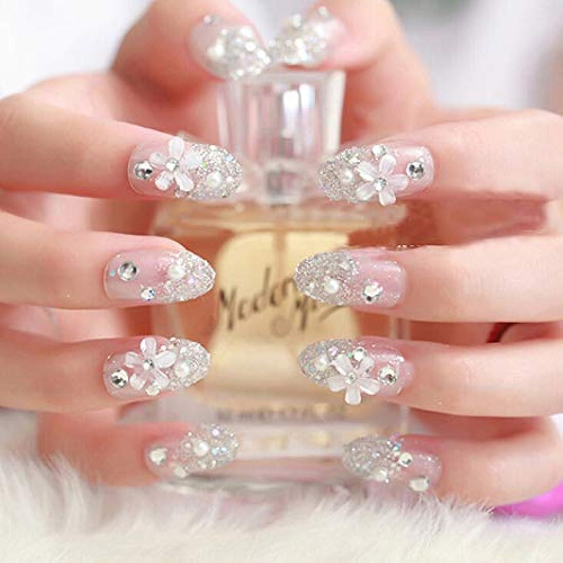 XUTXZKA 24個/セット人工花嫁ネイル、ウェディングダイヤモンドフィンガーフェイクネイルのヒント