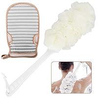 ボディブラシ 体洗いブラシ ボディタオル 背中 ブラシ ニキビ 角質とり お風呂用 シャワーブラシ 柔らかい 泡立ち あかすり 長柄 マッサージブラシ カビ防止 美肌効果 バスグッズ 2セット (グレー縞)