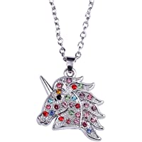Multicolor Crystal Unicorn Horse Pendant Necklace Jewelry Gift for Teens Girls