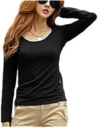 [アドグレイス] シンプル 無地 裏起毛 クルーネック 丸首 長袖 tシャツ レディース M/L/XLサイズ/白/黒