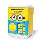ATM 黄色い可愛い貯金箱 お札も 硬貨もはいる金庫型   おもしろい誕生日プレゼント 音楽が10首あります、自動的にお札を食べる、暗証番号 硬貨 紙幣 パスワー 子供のおもちゃ インテリア