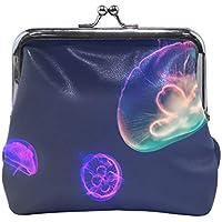 がま口 財布 口金 小銭入れ ポーチ クラゲ 海 紫 Jiemeil バッグ かわいい 高級レザー レディース プレゼント ほど良いサイズ