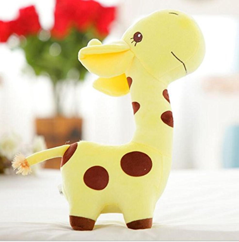HuaQingPiJu-JP 20cm背の高いキリンディアーソフトぬいぐるみ動物の人形赤ちゃんの誕生日パーティーおもちゃのギフト(黄色)