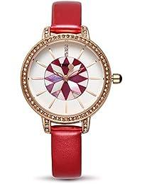 Time100  ダイヤモンド付き 貝殻模様 綺麗な針 30M防水 腕時計 ブレスレット レディース W80114L.02A (レット)