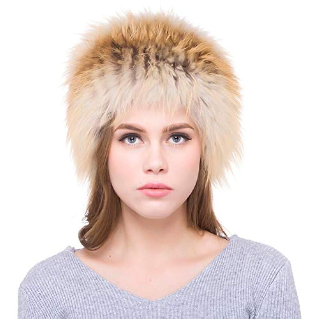 四技術に渡ってACAO さんキツネの毛皮ニット帽子秋と冬の大ロシア風暖かいイヤーキャップ (色 : Red fox, Size : S)