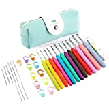 Luxebell Corchet Hooks Set 11Pcs Colorful Ergonomic Soft Rubber Comfort Grip Crochet Knitting Needles 32 Accessories Kit Household Tool with Portable Bag