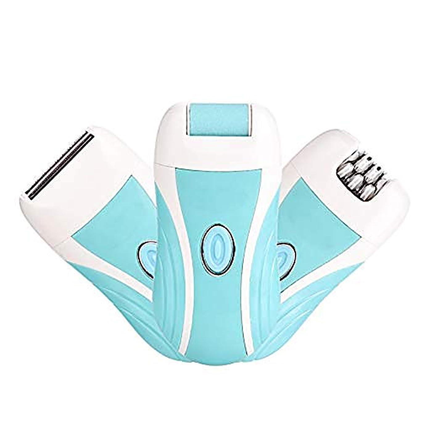 修正外国人傾く青色の3-in-1 USB充電式脱毛器、電気トリマーカミソリ、ミニポータブル、全身に使用可能