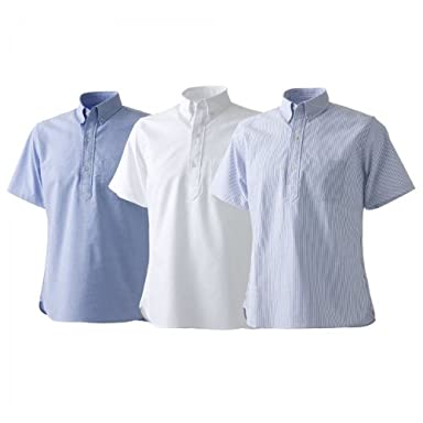 Short Sleeve Pullover Oxford Buttondown Shirt: Saxe, White, Blue Stripe