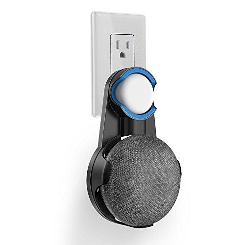 Google Home Mini 壁掛け ホルダー スピーカー マウント スタンド カバー 保護ホルダー 滑り止めゴム付き コード収納 グーグルホームミニ アクセサリー (ブラック)