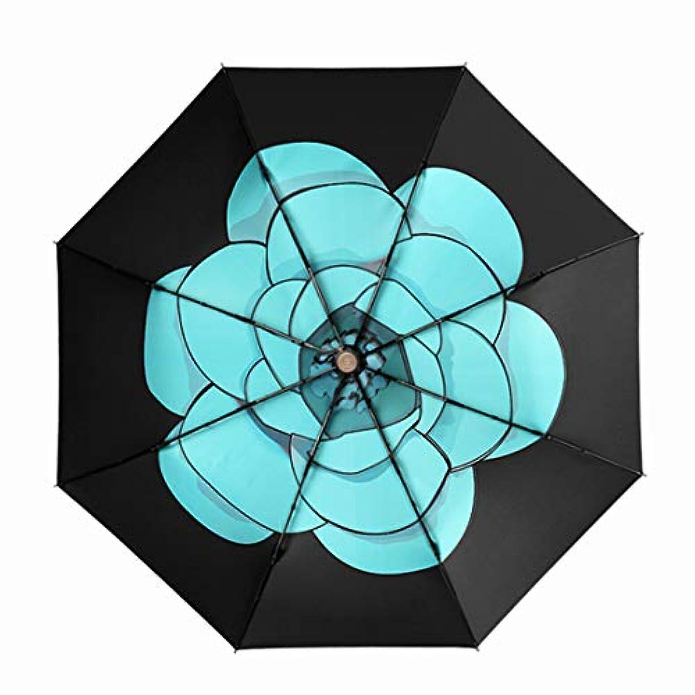 企業別々にベッドを作るHOHYLLYA 絶妙な花柄の女性の折りたたみ日傘ブラックアウトドアコンパクトポータブルUVプロテクション防風傘スポーツ傘 sunshade (色 : 黒)