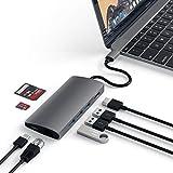 Satechi V2 マルチ USB ハブ Type-C パススルー充電 4K HDMI出力 カードリーダー USB3.0ポートx3 (スペースグレイ)