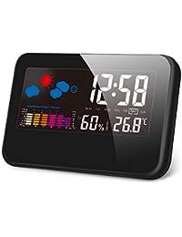 Kungix クロック 時計 デジタル 置き時計 目覚まし時計 LCD大画面 温度計 湿度計 時間/月日/曜日/最高最低温湿度/温度傾向図表示 アラーム/センサー/バックライト