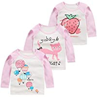Mornyray Newborn Unisex Babys Long Sleeve Tee Boys Cotton Cartoon Pattern Shirt Girls Contrast Color Autumn Round Neck Sport Bottoming Shirt Fashion Wild Girls Casual Daily Outfit