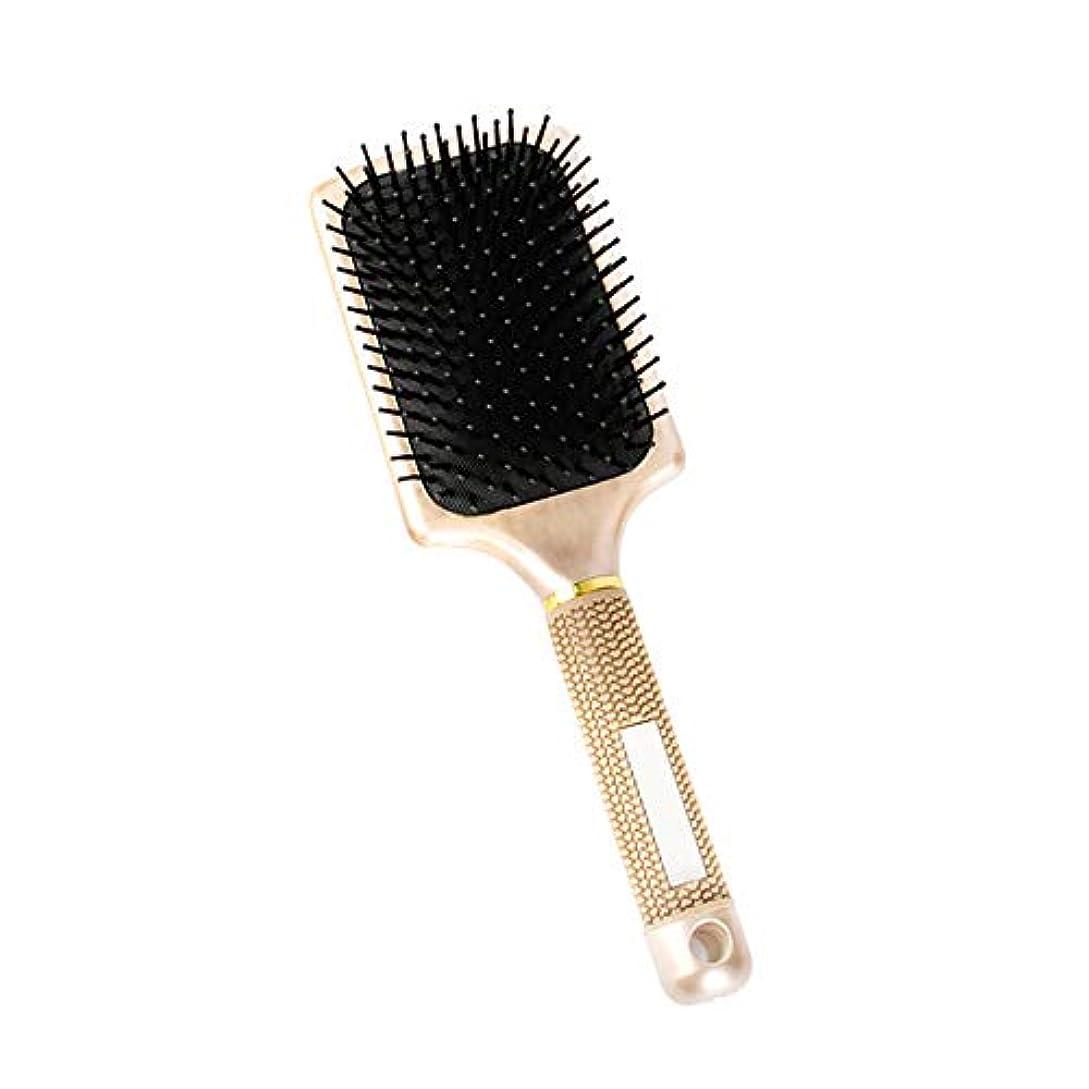 繊維パドル餌ピン付きマッサージヘアブラシメッセージケアヘアケアアクセサリー用エアクッション付きブラック1個ゴールド