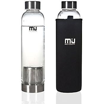 MIU COLOR 水筒 ボトル ガラス水筒 マグボトル 550ML 茶こし付き ナイロンのカバー 会社や運動各場所用(ブラック)