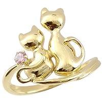 [アトラス] Atrus ネコ の ピンキーリング 選べる宝石 ピンクトルマリン ソリティア 一粒の宝石 イエローゴールドK18 K18 18金 指輪 15号 お好きな宝石とアベック猫のかわいいリング ファッションリング