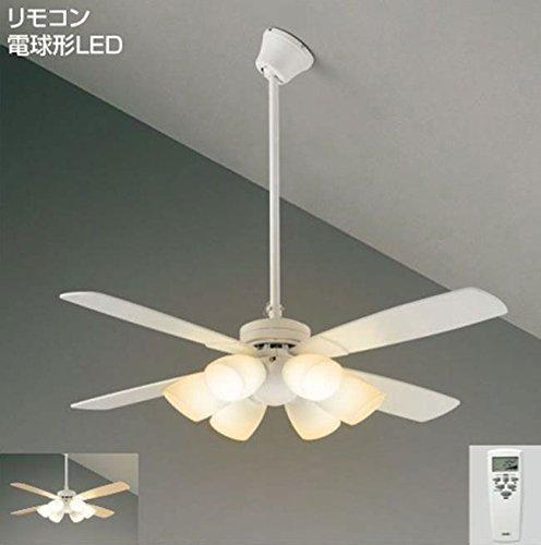 LED 明るさ8畳 吹き抜け 傾斜天井 簡易取付 ダイコー ホワイト シーリングファン ライト 【DJE-016】