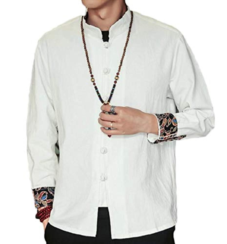 Sodossny-JP メンズファッションカエルボタンコットンリネンシャツゆるいロングスリーブジャケットコート