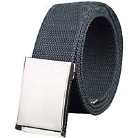 uxcell Unisex Canvas Belt Web Adjustable Holeless Slide Buckle Metal Tip End