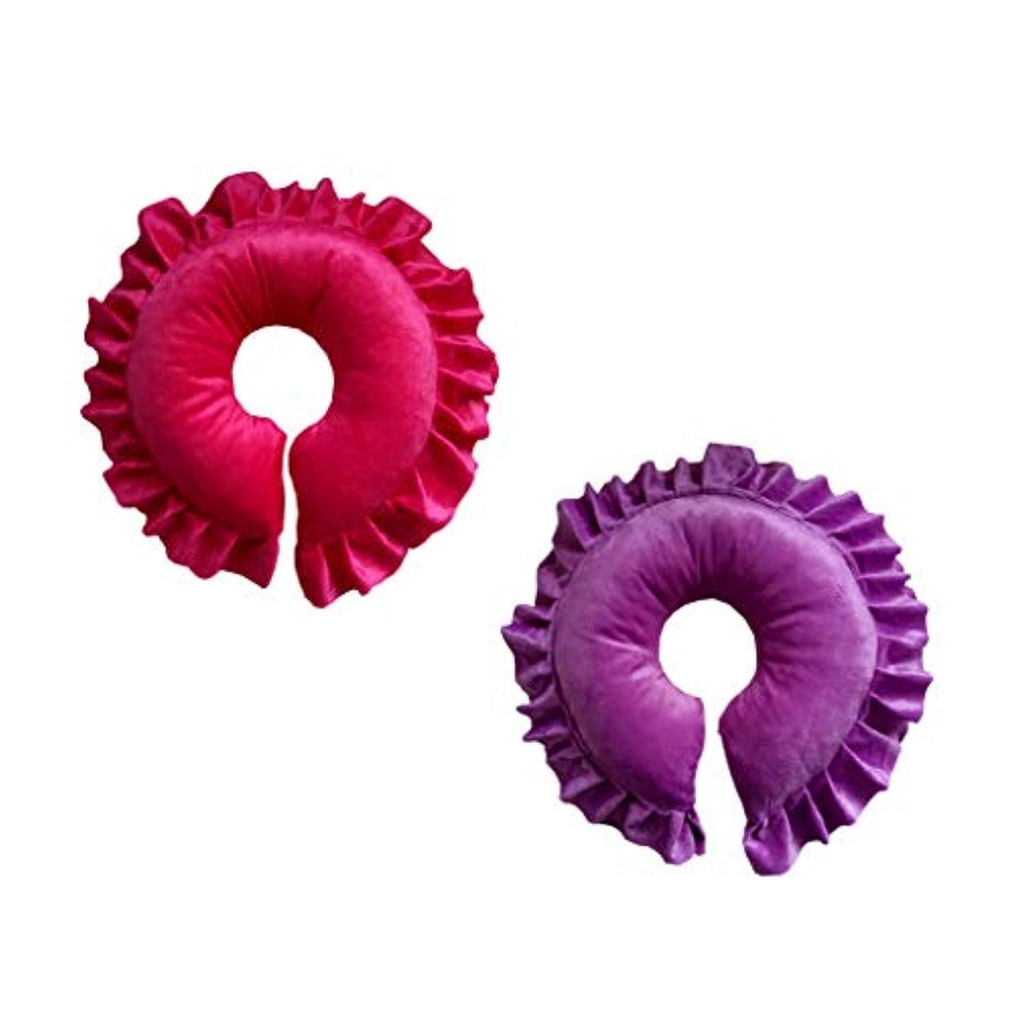 シュートブラシ傘FLAMEER 2個 フェイスピロー マッサージ用クッション 顔枕 マッサージ枕 サロン スパ 快適 紫&赤