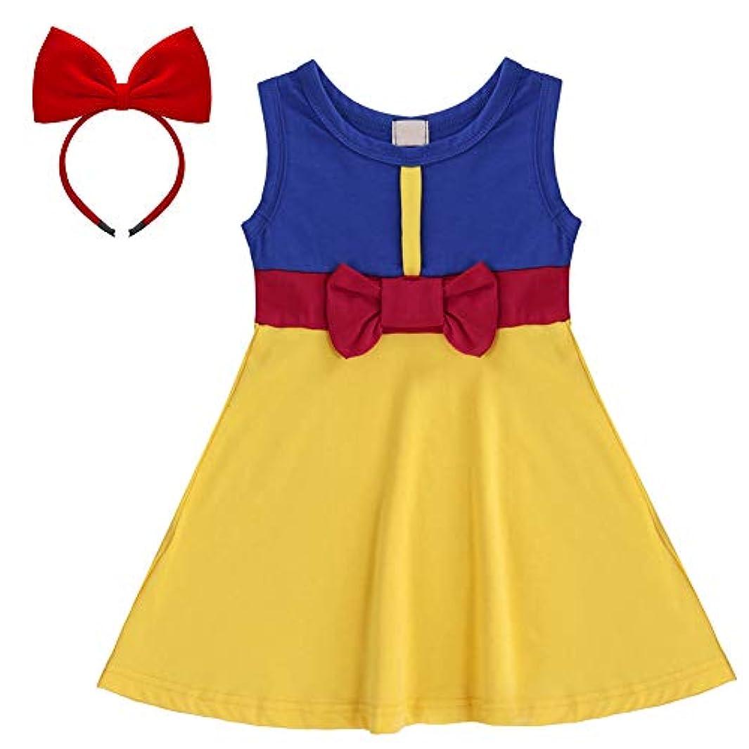 ブレイズ後退する含むIBTOM CASTLE子供服 キッズコスチューム 2点セット 変身 なりきり ワンピース 白雪姫 ヘッドバンド ロールプレイ ドレス 誕生日プレゼント サファイア 110
