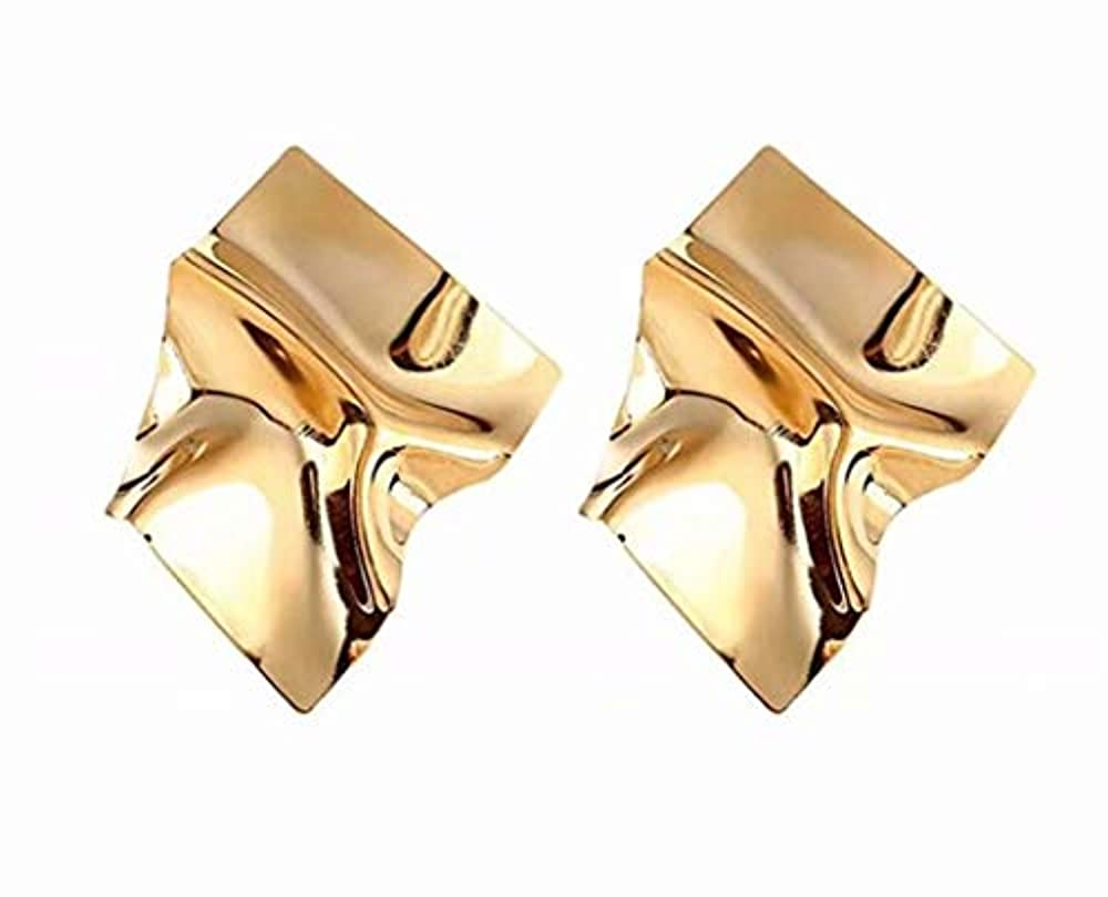 リンス美的嫌な七里の香 幾何学的な不規則なミラードロップイヤリングギフトのための金メッキスタッドイヤリング