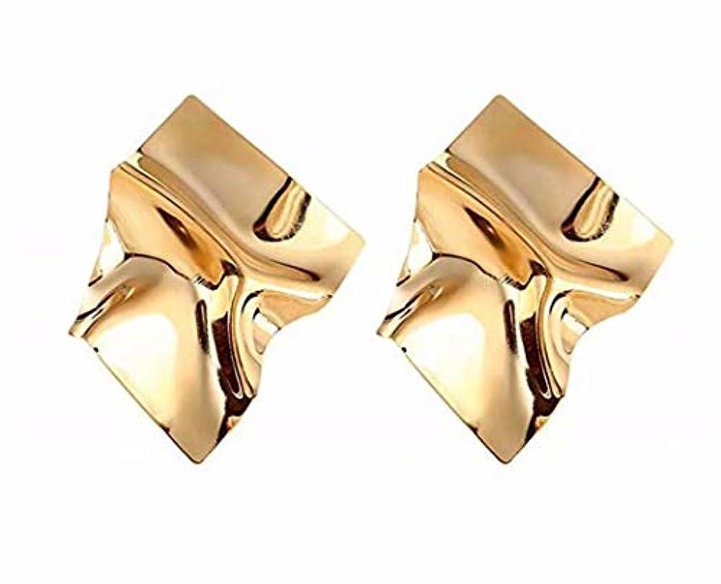 頂点体系的に速い七里の香 幾何学的な不規則なミラードロップイヤリングギフトのための金メッキスタッドイヤリング