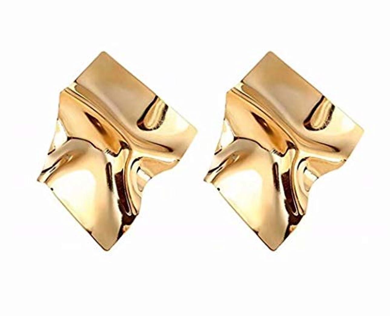 適用するシニス同志七里の香 幾何学的な不規則なミラードロップイヤリングギフトのための金メッキスタッドイヤリング