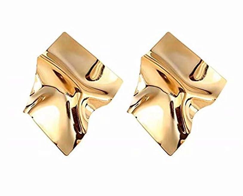 周り方向不機嫌七里の香 幾何学的な不規則なミラードロップイヤリングギフトのための金メッキスタッドイヤリング