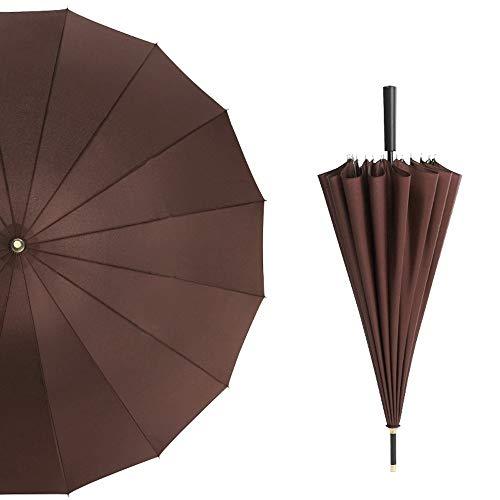 BTXXYJP 長傘 ゴルフ傘 特大 耐久性 レディース メンズ 雨傘 晴雨兼用 撥水加工 和傘 傘 (Color : 褐色, Size : フリー)