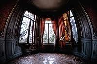 写真スタジオカーテン用古びた台紙バルコニーウィンドウ背景 木製壁 お化けインテリア 写真ブース背景 10x6.5フィート