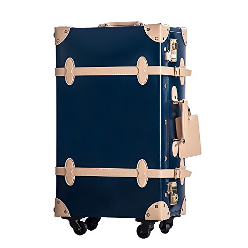 (RH) (TANOBI) トランクケース スーツケース TSAロック 四輪 超軽量 キャリーケース キャリーバッグ 【復古主義】 PVC03 (M, Aネイビー×ベージュ)