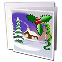 Snow Covered Cabin and Pine Artwork - Greeting Cards 6 x 6 inches set of 12 (gc_165423_2) [並行輸入品]