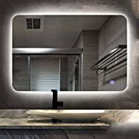 LEDミラー 浴室 フレームレス 照光 浴室用ミラー 防曇 時間 タッチスイッチ化粧鏡 (Color : B, Size : 50x70cm)