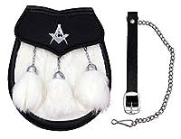 KiltポシェットMasonic CrestホワイトRabbit Fur &ブラックレザーsemi-dressポシェット