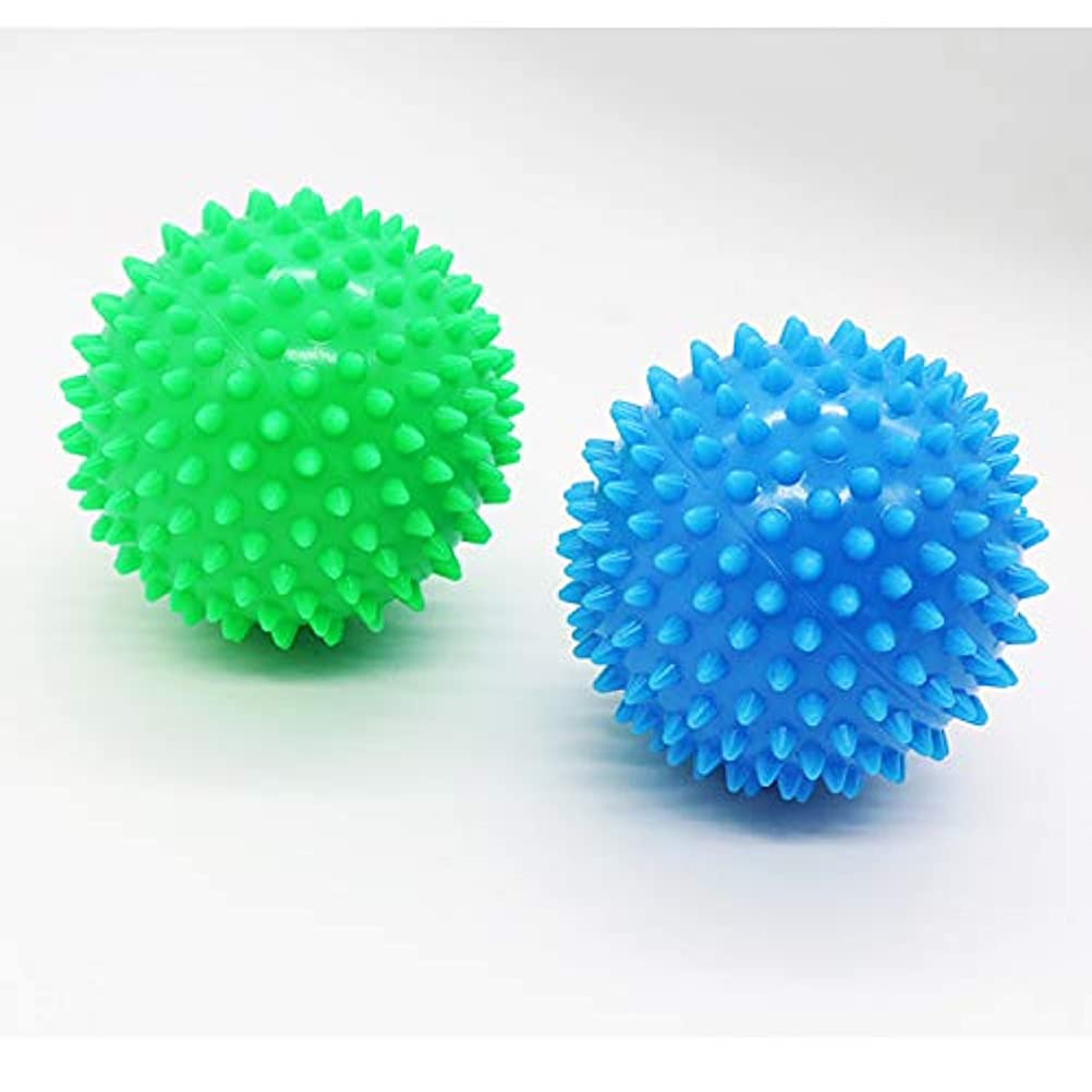 約設定芸術描写Dreecy マッサージボール(2個セット)触覚ボール リフレックスボール トレーニングボール  ポイントマッサージ 筋筋膜リリース 筋肉緊張和らげ 血液循環促進 9cm(青+緑)