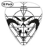 Aries Tattoo ピック ギターピック 12個入り それぞれ厚さ カラフル 12枚セット 多種多色Thin 0.46mm、Medium 0.71mm、Heavy 0.96mm 各4枚 ティアドロップピック
