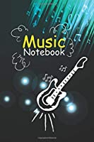 Music Notebook: Guitar Symbol in Cover & Cool Interior. 120 Pages 6x9 in Music Manuscript Paper. Space to Write Lyrics and Music Notes. Musicians Notebook. Manuscript Paper for Notes, Lyrics and Music.: Perfect for Music Lovers