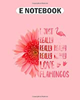 E Notebook: cute pink adorable flamingos kissing beak kiss  College Ruled - 50 sheets, 100 pages - 8 x 10 inches