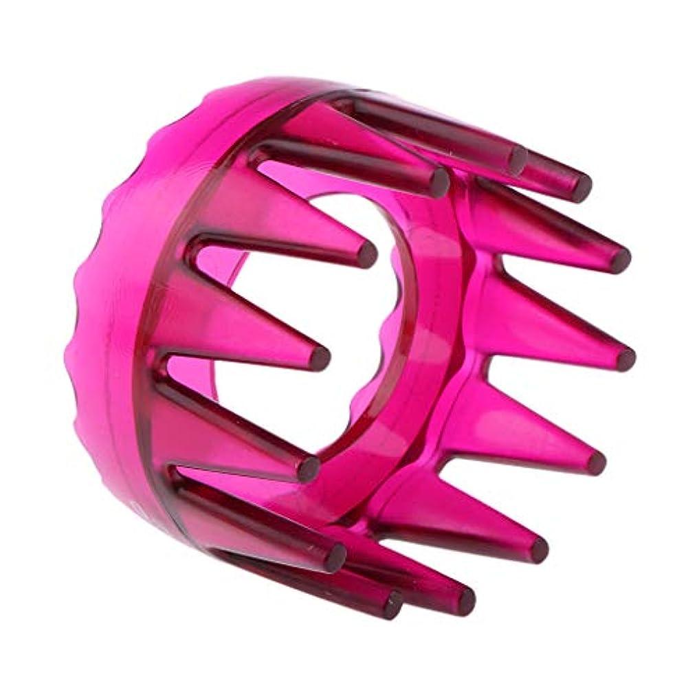 ユニークなサークル赤道SM SunniMix シャンプーブラシ 洗髪櫛 マッサージャー ヘアコーム ヘアブラシ 滑り止め 快適 リラックス 全4色 - ローズレッド