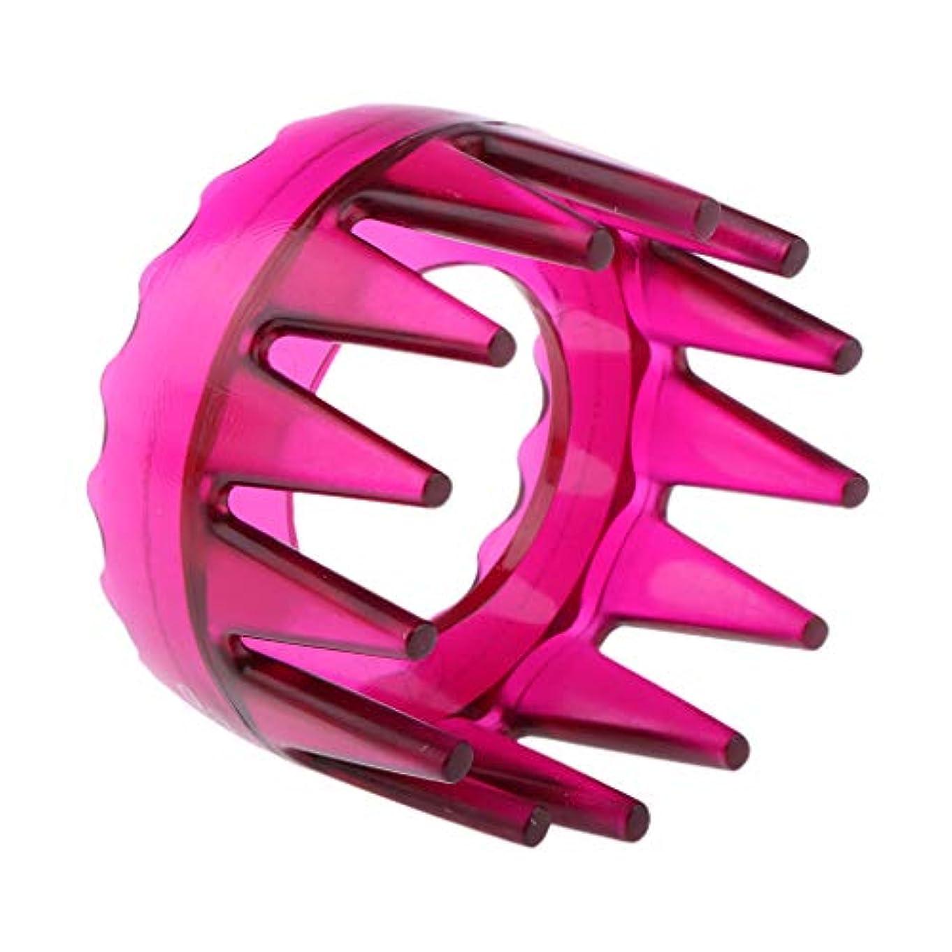 サイクロプス行き当たりばったりステープルSM SunniMix シャンプーブラシ 洗髪櫛 マッサージャー ヘアコーム ヘアブラシ 滑り止め 快適 リラックス 全4色 - ローズレッド