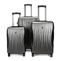 大容量スーツケース 360°サイレントスピナー多方向ホイールキャリーオンアップライトスーツケース20インチ24インチ28インチ荷物3ピースセットスーツケースハードシェル軽量入れ子セット男性用女性旅行飛行機の飛行とチェックイン 軽量かつ低騒音 (色 : グレー, サイズ : 20in+24in+28in)