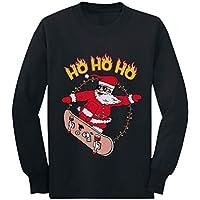 Skater Santa Claus Ho Ho Ho Ugly Christmas Toddler/Kids Long Sleeve T-Shirt