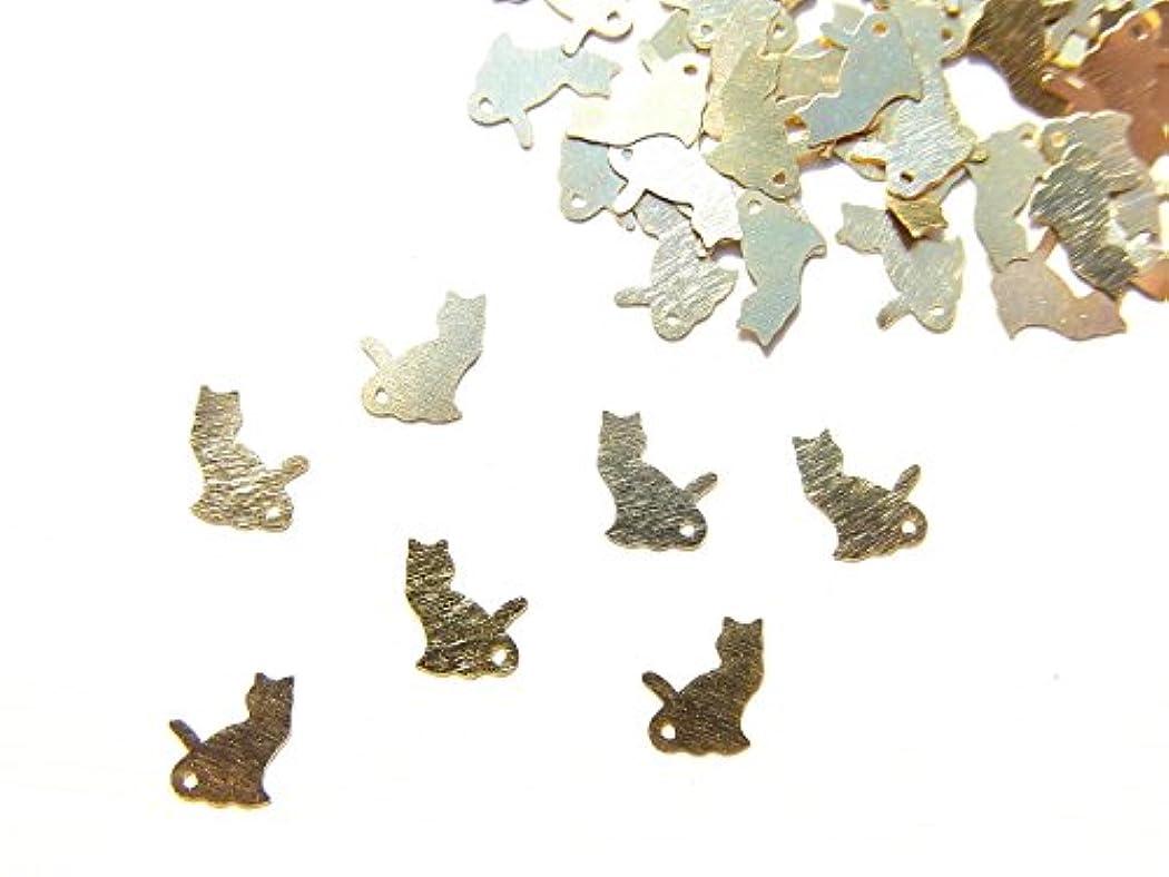 共産主義者抑制光沢のある【jewel】ug22 薄型ゴールド メタルパーツ ネコ 猫A 10個入り ネイルアートパーツ レジンパーツ