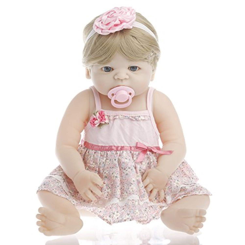 NPK collection Rebornベビー人形リアルな赤ちゃん人形ビニールシリコン赤ちゃん22インチ55 cmピンクFloralドレス人形