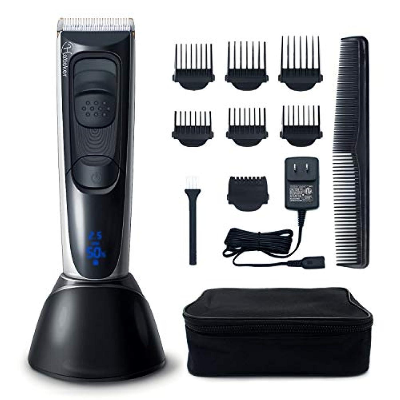 バリカン電気男性ヘアトリマー髭トリマーでマルチサイズ微調整ライトledディスプレイ充電式