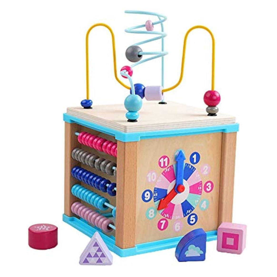 カメ細心のプログラム脳ゲーム 木製ビーズ迷路、子供のための適切な木製の赤ちゃんと幼児のおもちゃサークル教育木製ビーズ迷路形教育玩具迷路ローラーコースター教育木製玩具数学、 安全で無害 (Color : Multi-colored)