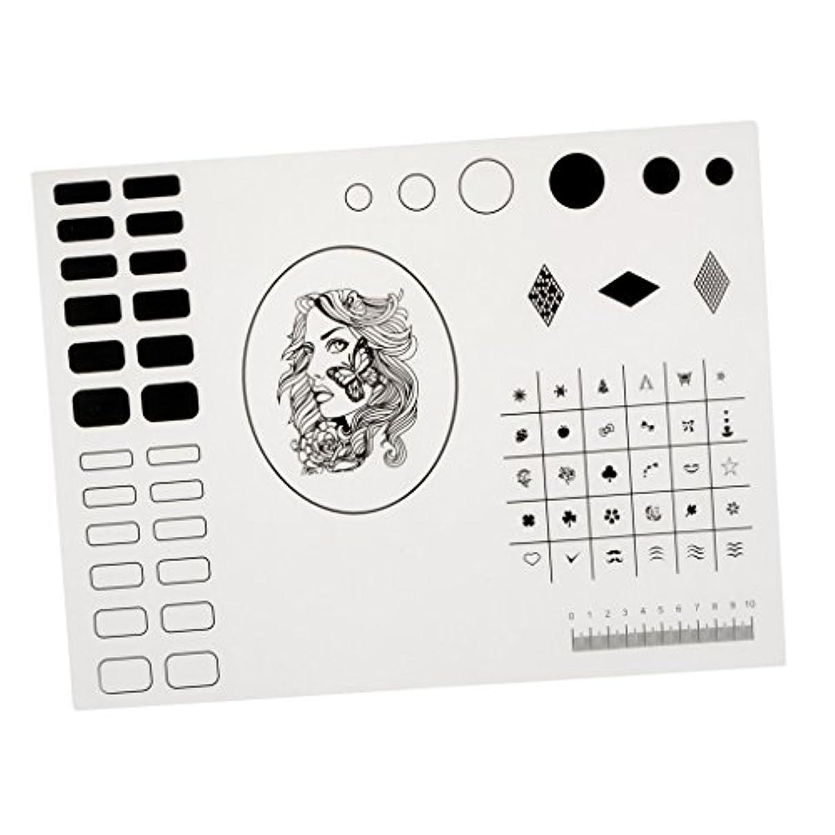 準備した例外テントKesoto シリコーンスタンピングマット ネイルマット ネイルアートマット マニキュア ネイルステッカー 繰り返す可 初心者 40.5*30.5cm 2タイプ選べ - タイプ2