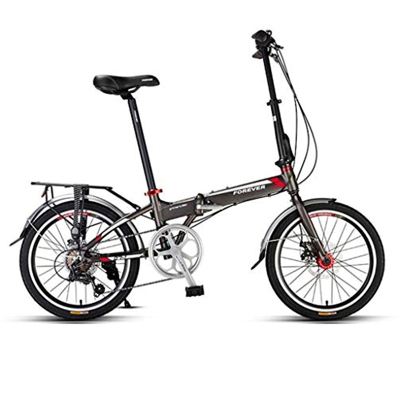 病弱放送マーキー女子ロードバイク、折り畳み式ミニバイク、20インチ7スピードバイク、ショッピング、仕事、そしてプレイ自転車使用されるアルミニウム合金フレーム、機械式ディスクブレーキ、 (Color : Black, Size : 20 inches)